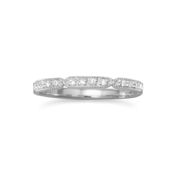Rhodium Plated Notched CZ Band | Brittono's Collection