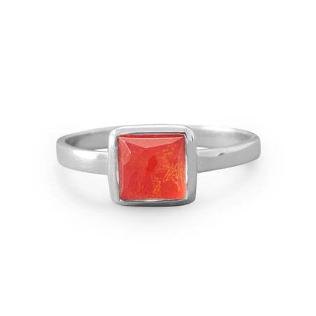 Small Square Freeform Faceted Quartz over Reconstituted Coral Stackable Ring | Brittono's Collection