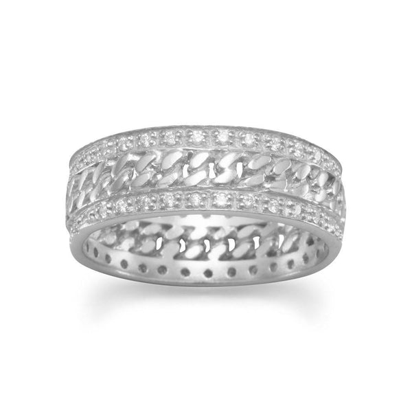 Rhodium Plated Curb Link Ring with CZs