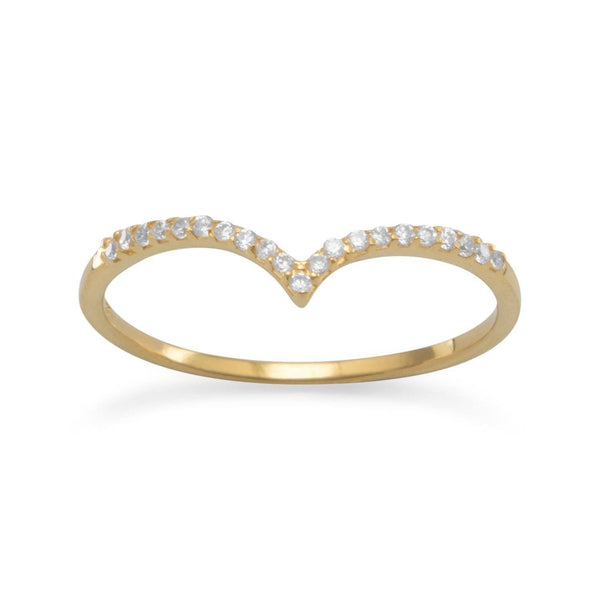 "18 Karat Gold Plated CZ ""V"" Ring 