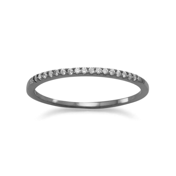 Ruthenium Plated Thin CZ Ring