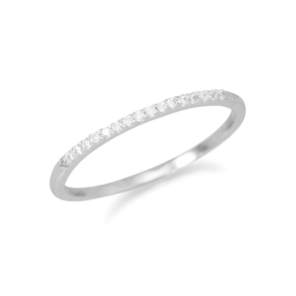 Rhodium Plated Thin CZ Ring | Brittono's Collection