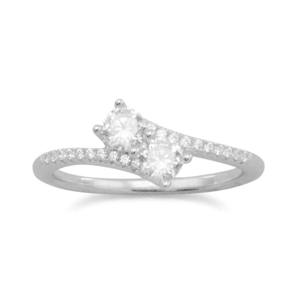 Rhodium Plated Double CZ Ring with CZ Band