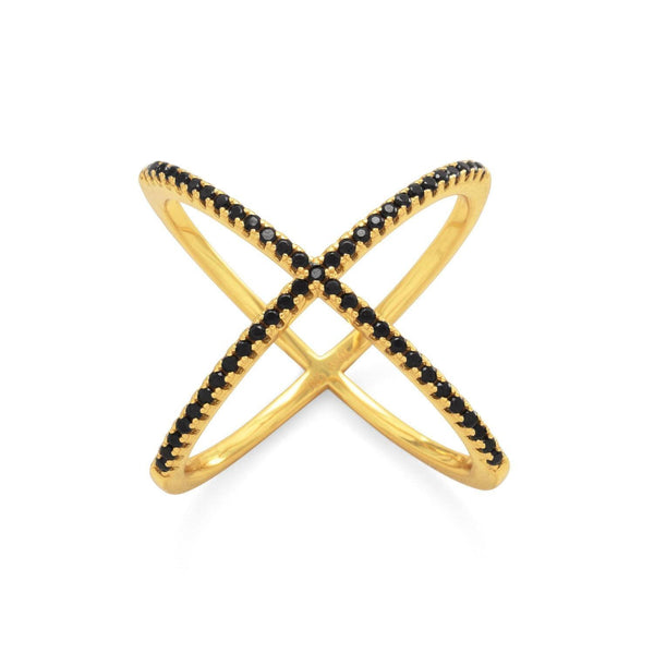 Criss Cross 'X' Ring with Black CZs - Brittono's Collection