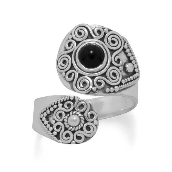 Sterling Silver Oxidized Black Onyx Wrap Ring