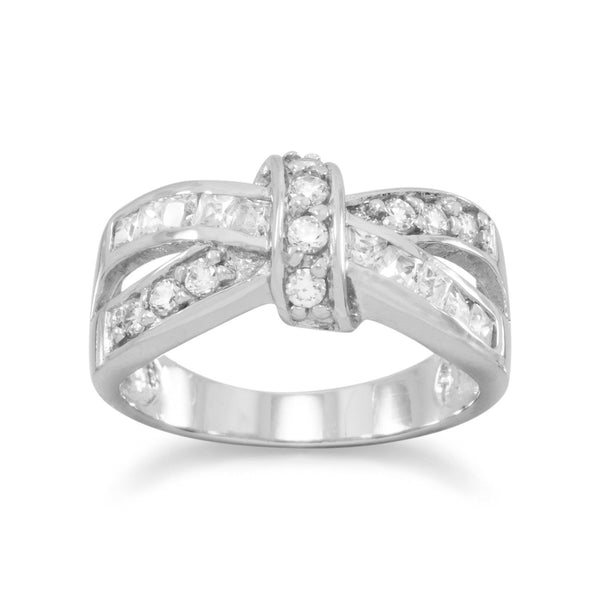 Rhodium Plated CZ Love Knot Look Ring | Brittono's Collection