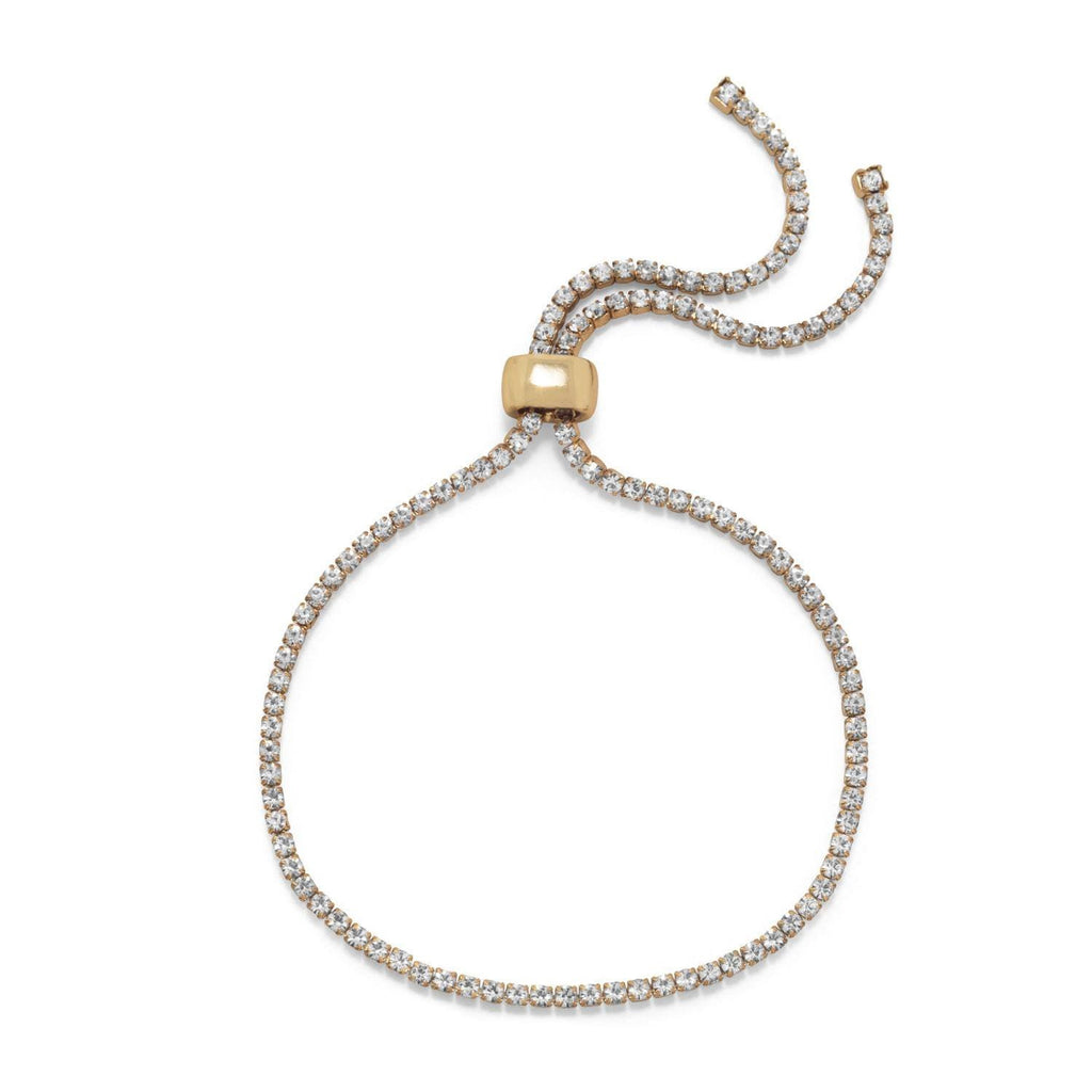 Gold Tone with Crystal Friendship Bolo Fashion Bracelet | Brittono's Collection