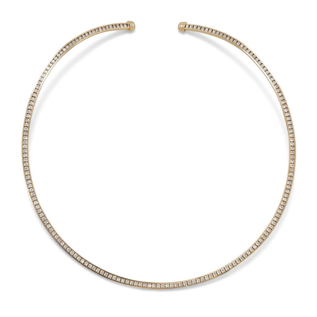 Gold Tone Crystal Fashion Flex Collar | Brittono's Collection