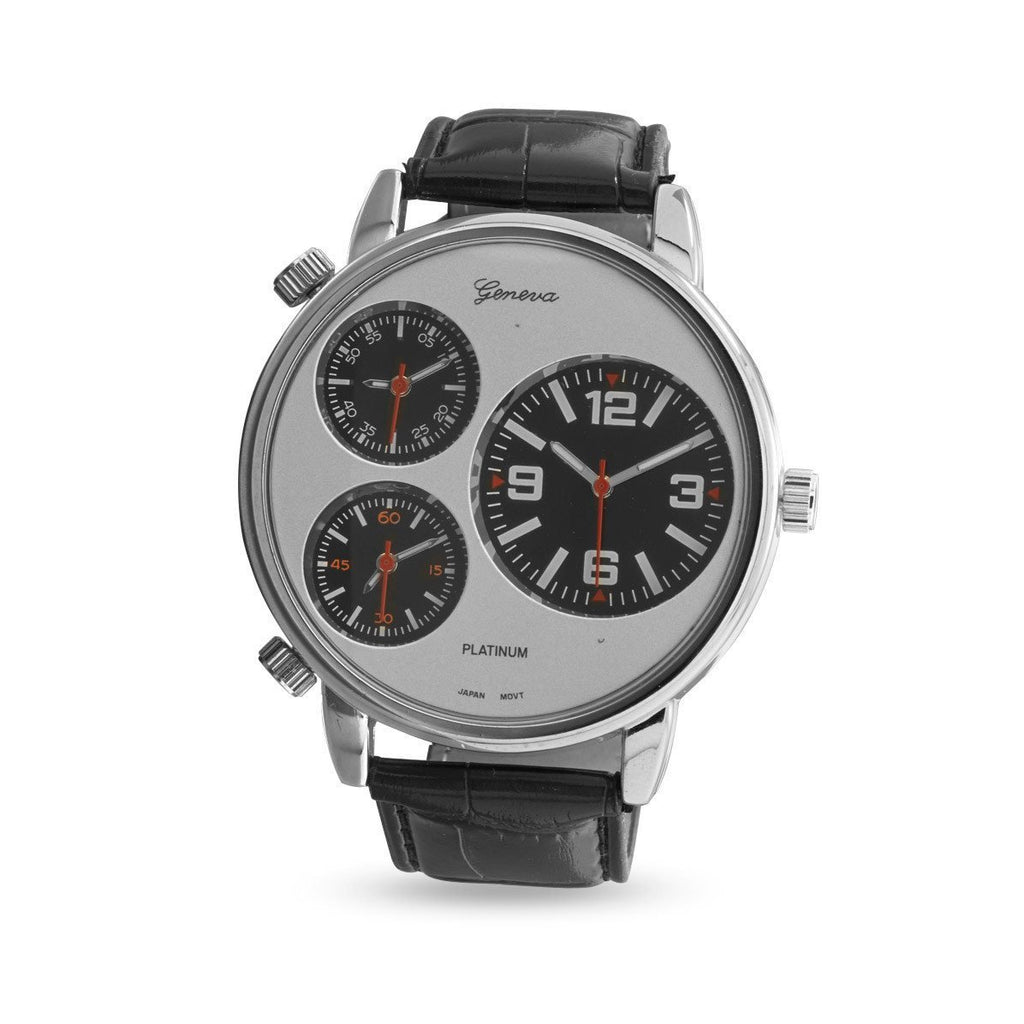 Black Leather Three Dial Men's Fashion Watch