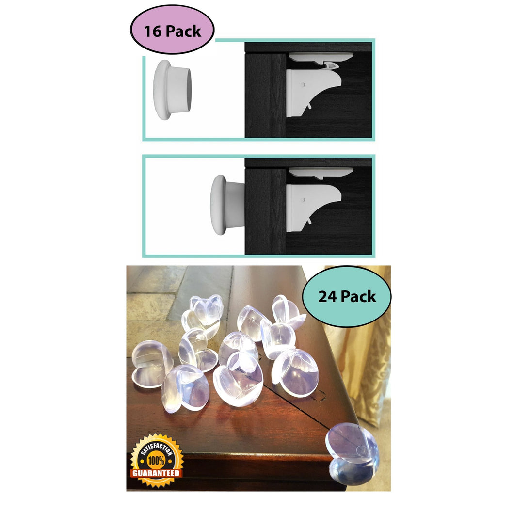 16 Magnetic Cabinet Locks and 4 Keys | 24 Clear Corner Guards Combo - EliteBaby