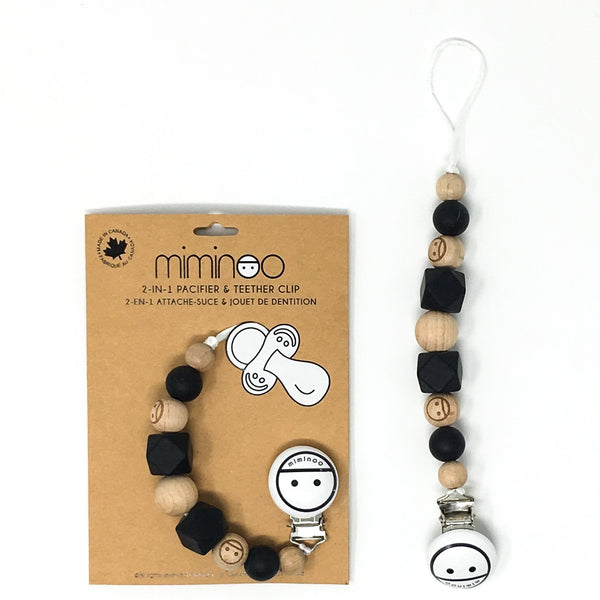 Miminoo  2-in-1 Pacifier Clip Beads Black