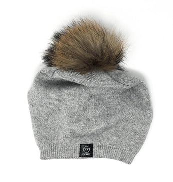 Angora Lean Back Light Grey Hat with Large Pomom