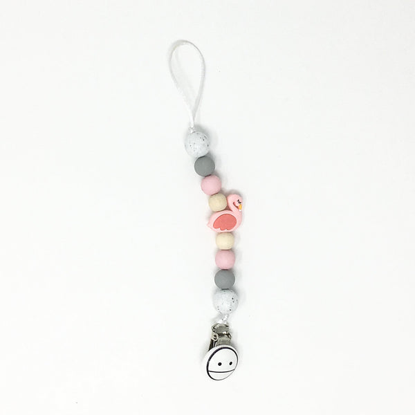 Miminoo 2-in-1 Pacifier Clip Flamingo Pink Grey