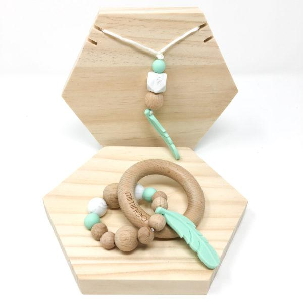 Miminoo Baby Wood & Silicone Rattle Feather Mint