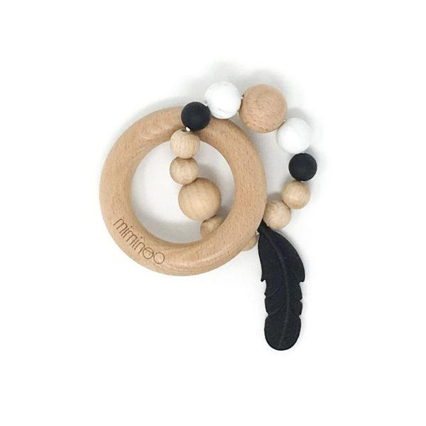 Miminoo Baby Wood & Silicone Rattle Feather Black