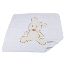 Load image into Gallery viewer, Teddy Bear and Grey Stripe Newcastle Blanket
