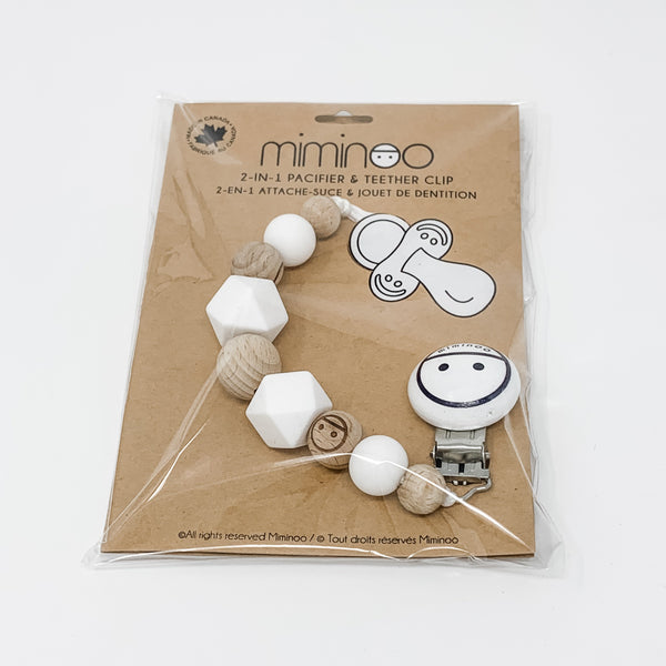 Miminoo 2-in-1 Pacifier Clip Beads White