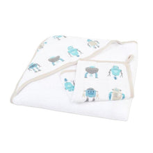 Load image into Gallery viewer, Robot Hooded Towel  and Washcloth Set