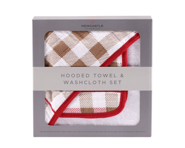 Newcastle Plaid Hooded Towel and Washcloth Set