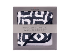 Load image into Gallery viewer, Moroccan Blue Hooded Towel and Washcloth Set