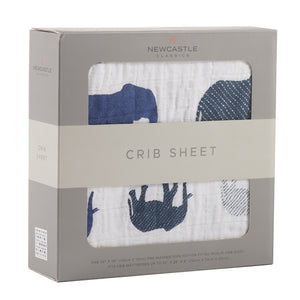 Blue Elephants Crib Sheet - EliteBaby