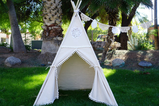Decorative White Teepee - Children's Playtime