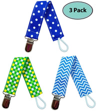 Load image into Gallery viewer, Pacifier Clip Holder for Boys, 3 Pack - EliteBaby