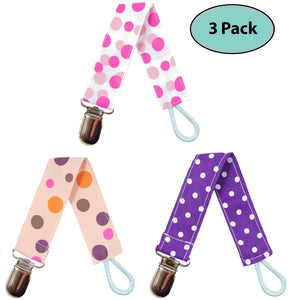 Pacifier Clip Holder For Girls, 3 Pack - EliteBaby
