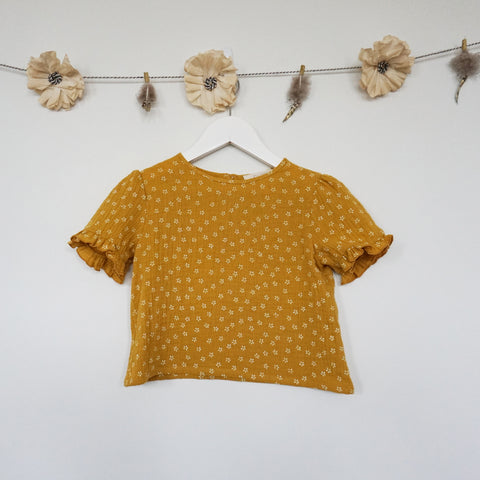 short sleeve mustard gauze shirt