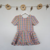 rainbow plaid ruffle dress