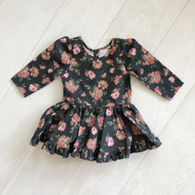 charcoal grey + pink roses 3/4 sleeve dress