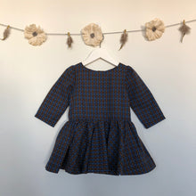 vintage plaid swiss dot 3/4 sleeve dress - 5t