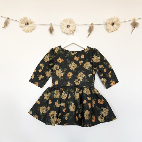 PRE-ORDER charcoal grey + mustard roses 3/4 sleeve dress