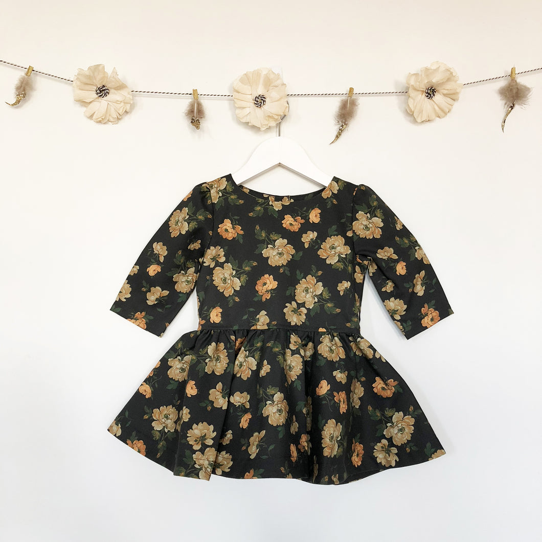 charcoal grey + mustard roses 3/4 sleeve dress