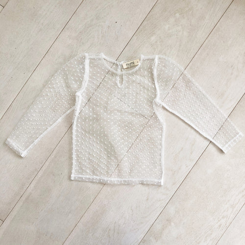 white flocked dot layering shirt