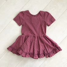 plum clip dot short sleeve dress