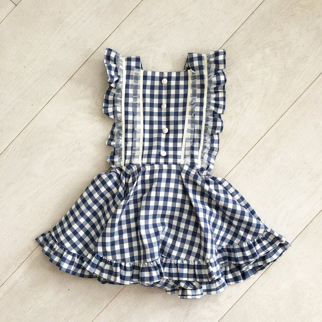 blue gingham pinafore with lace and buttons