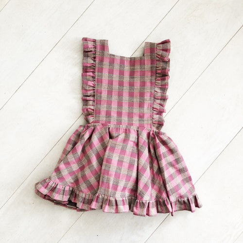 pink textured plaid pinafore