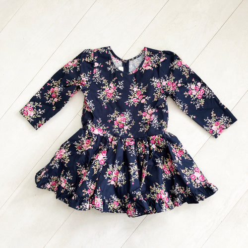 navy + pink roses 3/4 sleeve dress