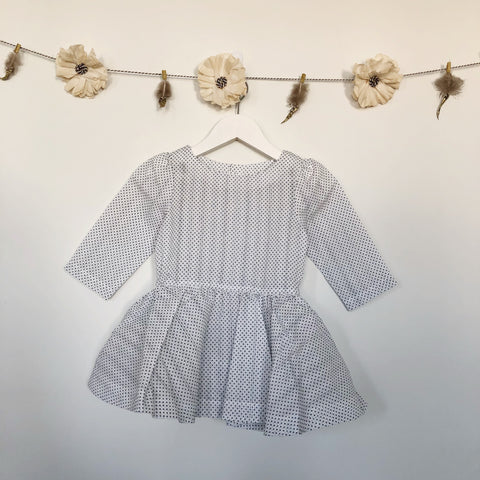 vintage swiss dot 3/4 sleeve dress - 6t