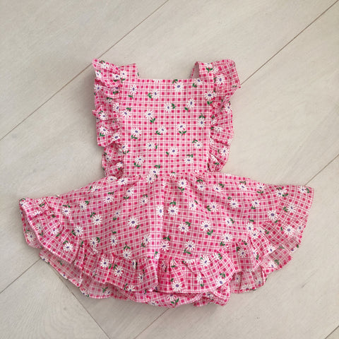 vintage flocked daisy gingham pinafore 12/18