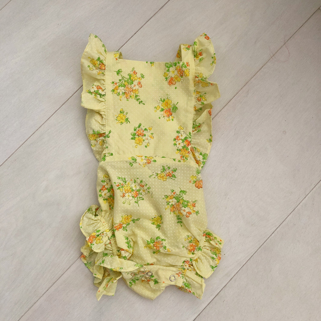 vintage yellow floral swiss dot sunsuit 12/18