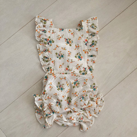 vintage windowpane floral sunsuit 12/18