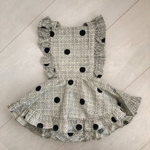 vintage flocked dot pinafore 18/24