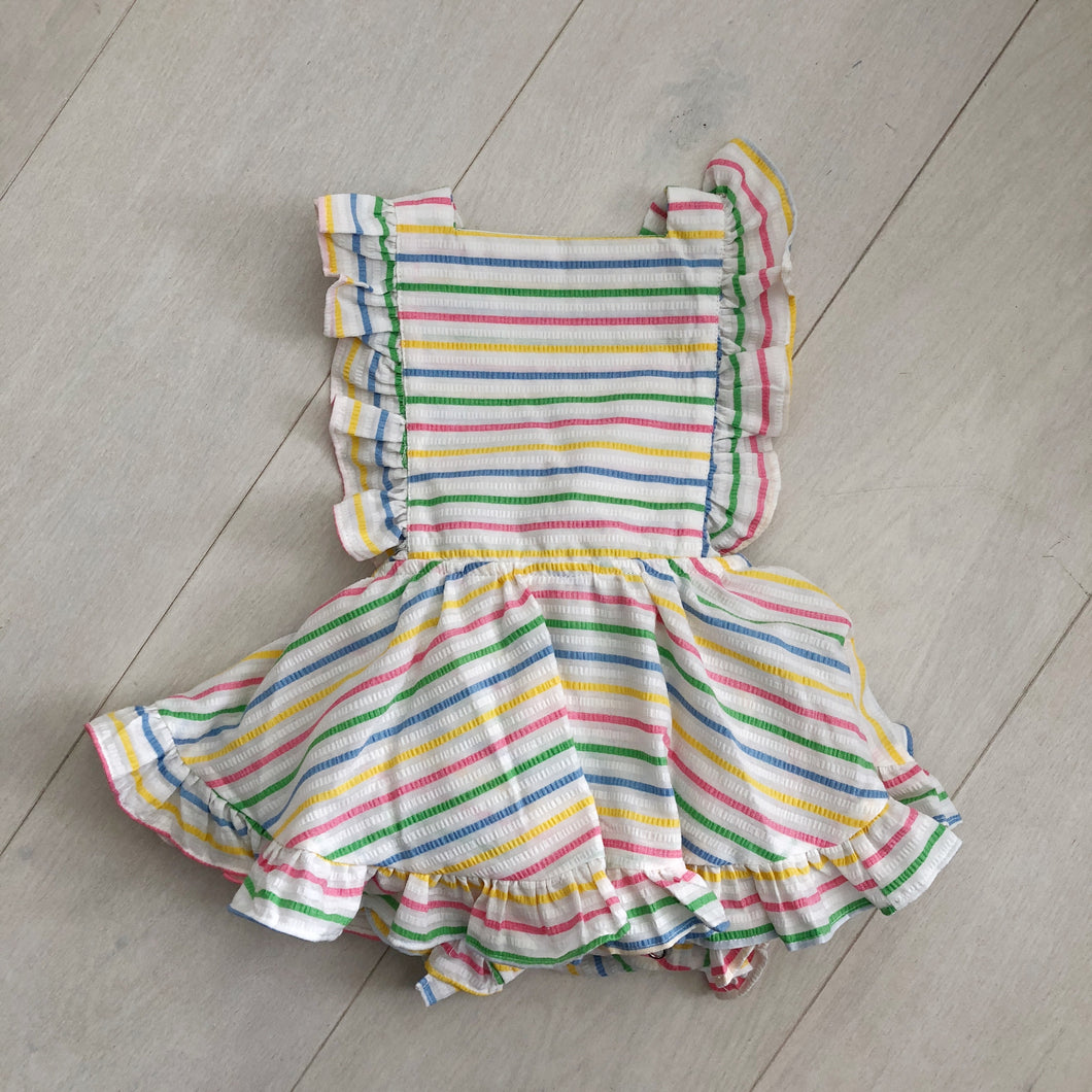 vintage bright stripe pinafore 2t