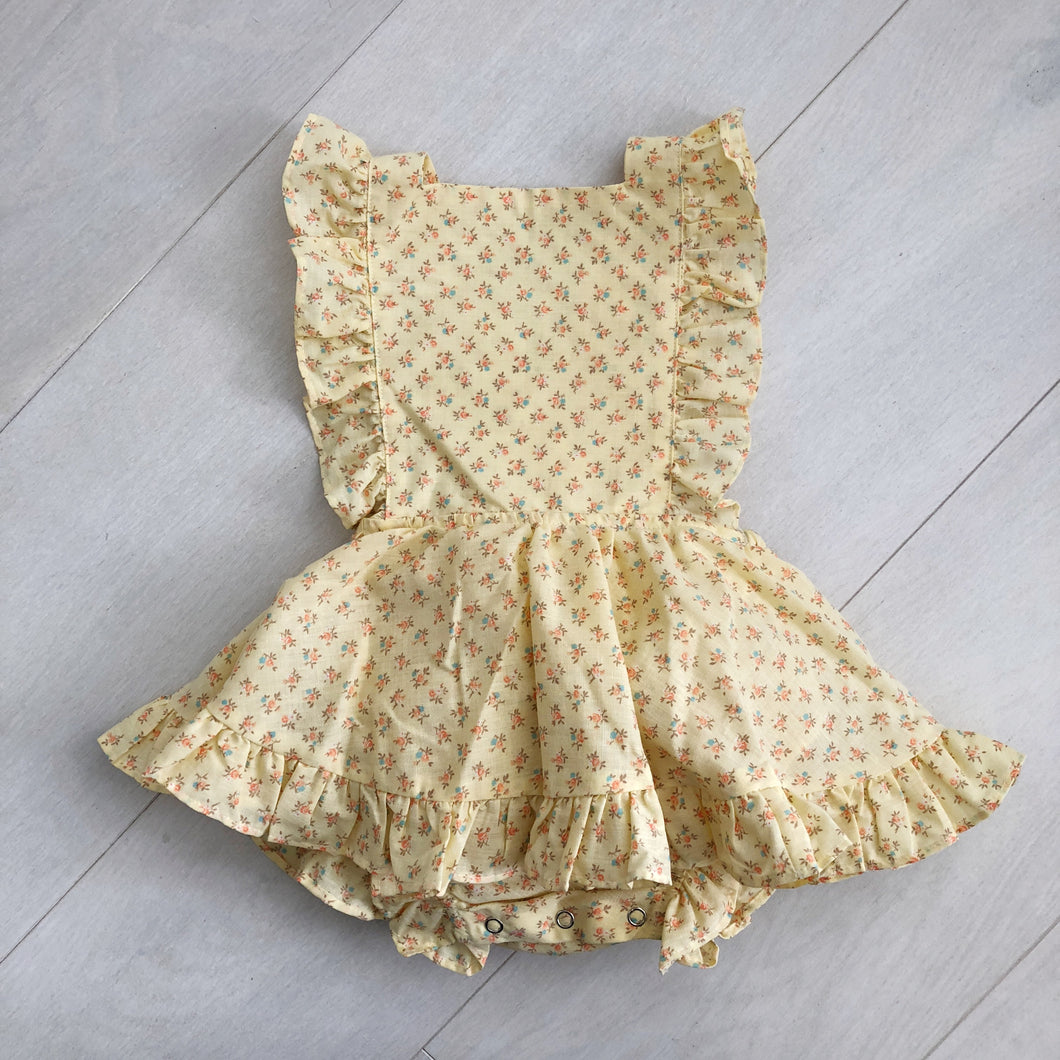 vintage tiny yellow flowers pinafore 2t