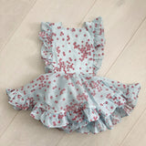 vintage flocked flowers pinafore 2t