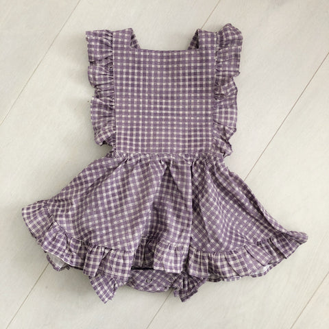 vintage purple plaid pinafore 2t