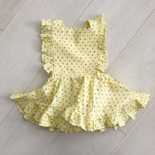 vintage yellow buds pinafore 2t