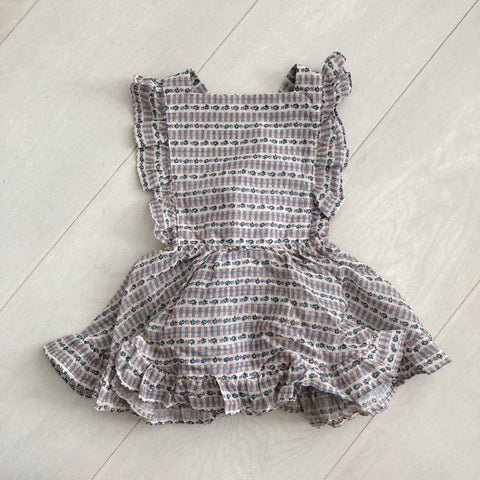 vintage floral plaid pinafore 2t
